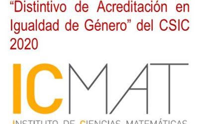 Acreditación en Igualdad de Género CSIC 2020 concedido al ICMAT
